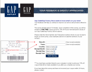 Gap Outlet Customer Feedback Survey