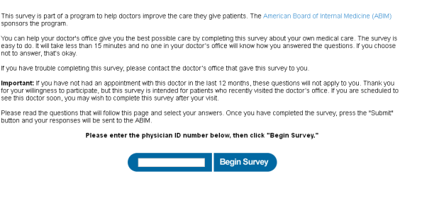 American Board of Internal Medicine Survey