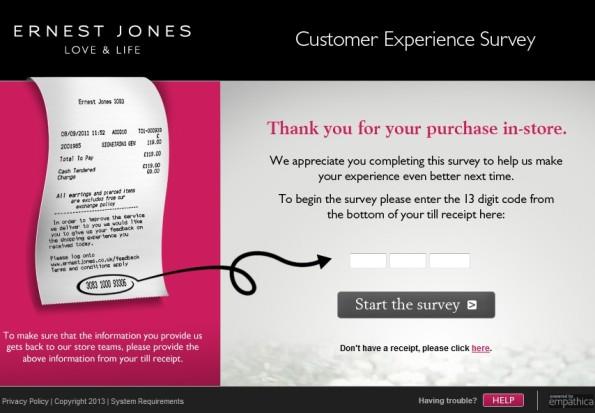 Ernest Jones Customer Experience Survey