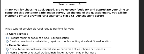 Geek Squad Customer Satisfaction Survey