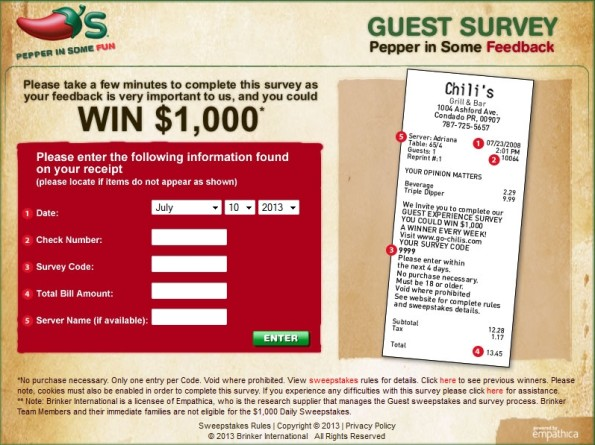 Go Chili's Guest Experience Survey