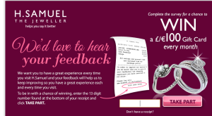 H.Samuel UK Store Feedback Survey