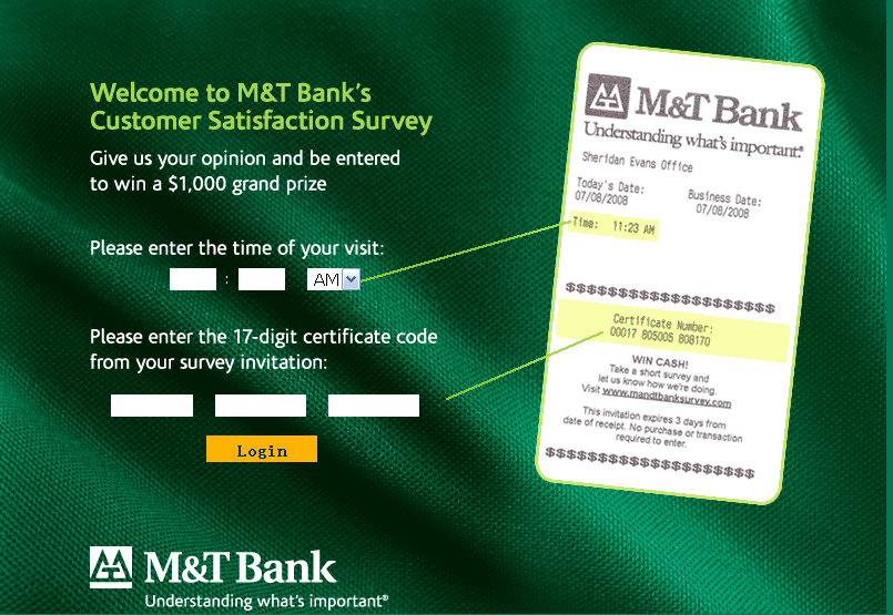 M&T Bank Customer Satisfaction Survey