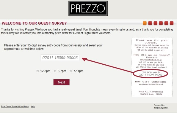 Prezzo Guest Feedback Survey