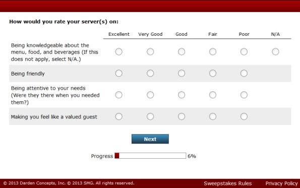 Red Lobster Guest Satisfaction Survey