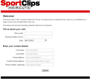 Sport Clips Customer Experience Survey