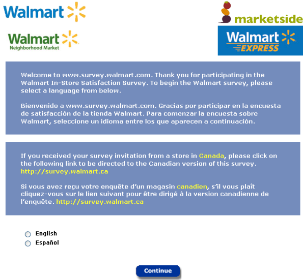 WalMart Customer Feedback Survey