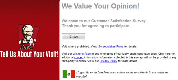 KFC Guest Satisfaction Survey UK