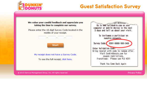 Dunkin' Donuts Customer Satisfaction Survey