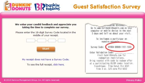 Dunkin' Donuts Guest Satisfaction Survey