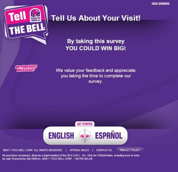 Tell The Bell Customer Opinion Survey