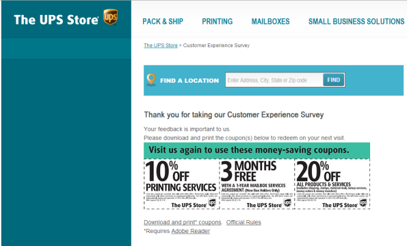 UPS Store Customer Satisfaction Survey