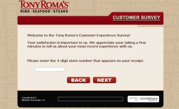 Tony Roma's Guest Survey
