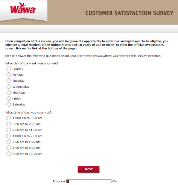Wawa Customer Satisfaction Survey