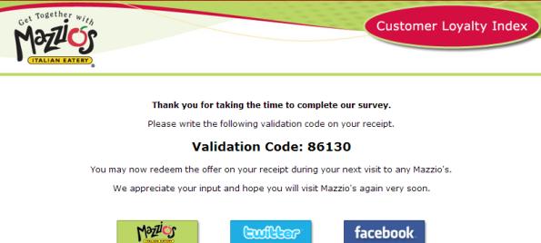 Mazzio's Customer Loyalty Index Survey