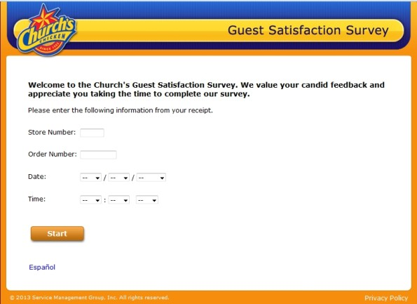 Church's Chicken Customer Satisfaction Survey