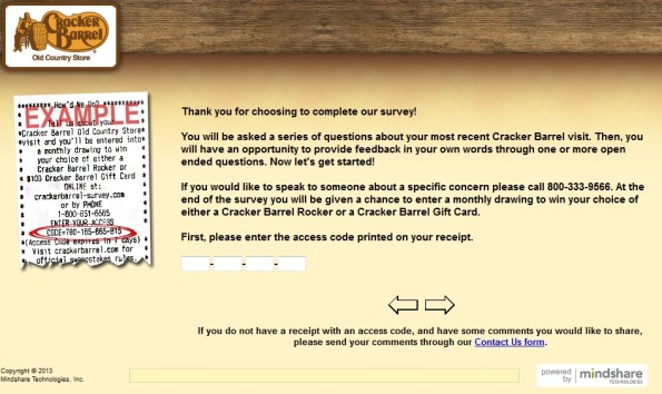 Cracker Barrel Customer Satisfaction Survey