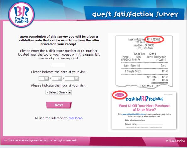Bask-Robbins Guest Satisfaction Survey