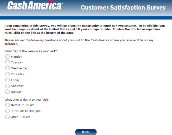 Cash America Customer Satisfaction Survey