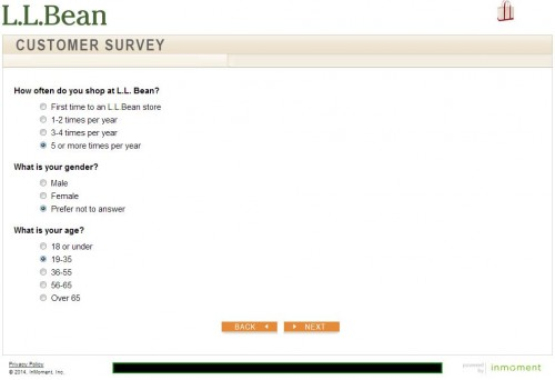 L.L.Bean Customer Satisfaction Survey