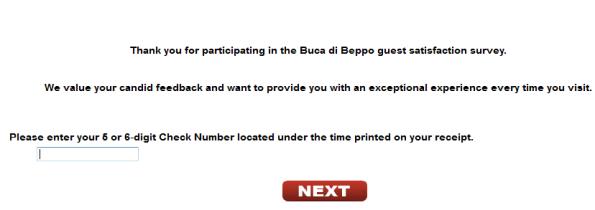 Buca di Beppo Guest Satisfaction Survey
