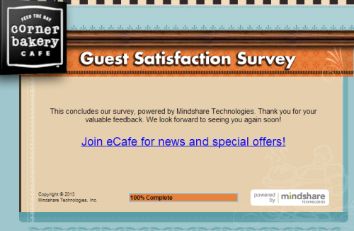Corner Bakery Café Guest Satisfaction Survey