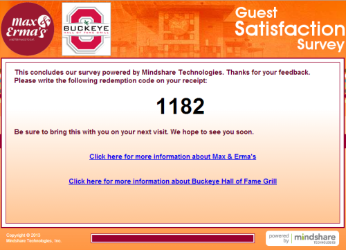 Max & Erma's Guest Satisfaction Survey
