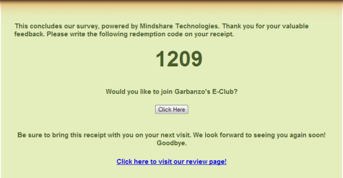 Garbanzo Mediterranean Grill Customer Satisfaction Survey