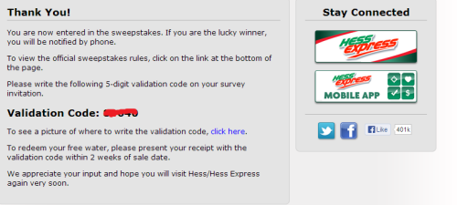 Enter survey code, date and time, and amount spent printed on your receipt, then click on 'Start' button