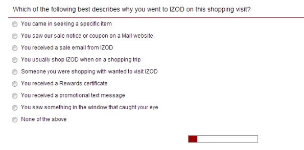 Izod Customer Feedback Survey