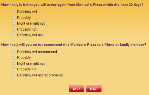 Monical's Pizza Customer Experience Survey