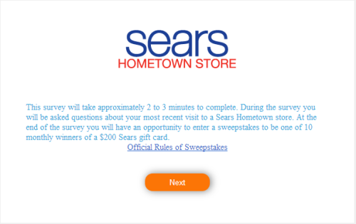 Sears Hometown Store Satisfaction Survey