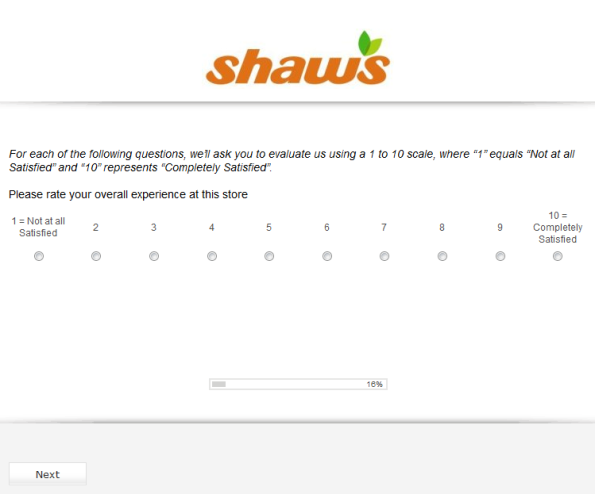 Shaws Customer Satisfaction Survey
