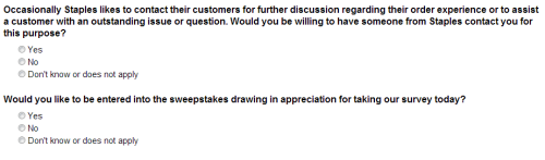 Staples Business Depot Delivery Customer Satisfaction Survey