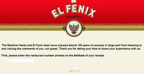 Talk to El Fenix Guest Feedback Survey