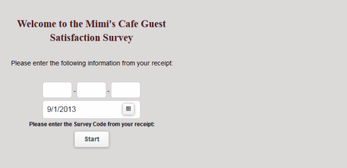 Mimi's Cafe Guest Satisfaction Survey