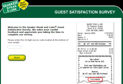 Quaker Steak & Lube Customer Satisfaction Survey