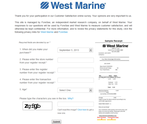 West Marine Customer Feedback Survey