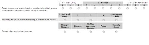 PRIMARK Customer Satisfaction Survey