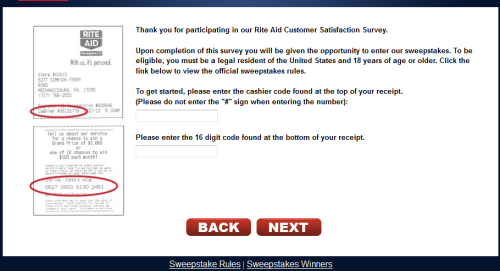 Rite Aid Customer Feedback Survey