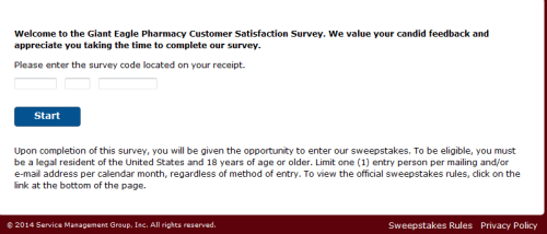 Giant Eagle Pharmacy Customer Satisfaction Survey