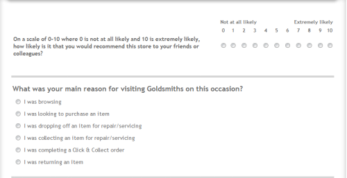 Goldsmiths Customer Feedback Survey