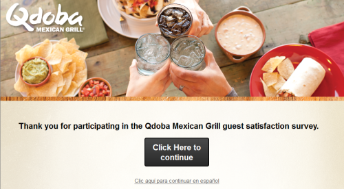 Qdoba Mexican Grill Guest Satisfaction Survey