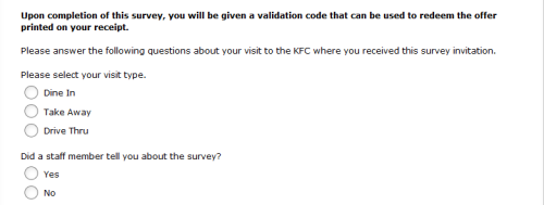 KFC Guest Experience Survey