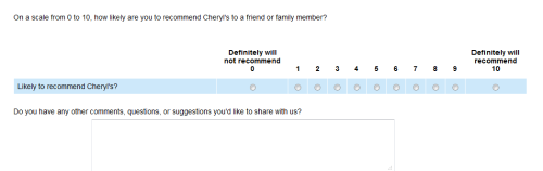 Cheryls Customer Satisfaction Survey