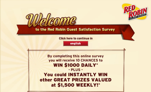 Red Robin Guest Satisfaction Survey