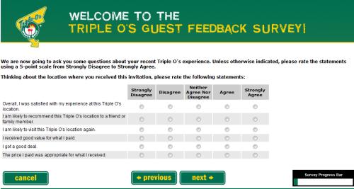 Triple O's Guest Feedback Survey