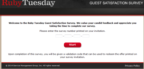 Ruby Tuesday Guest Satisfaction Survey