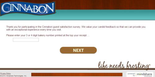 Cinnabon Customer Feedback Survey
