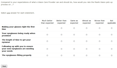 Pearle Vision Patient Experience Survey